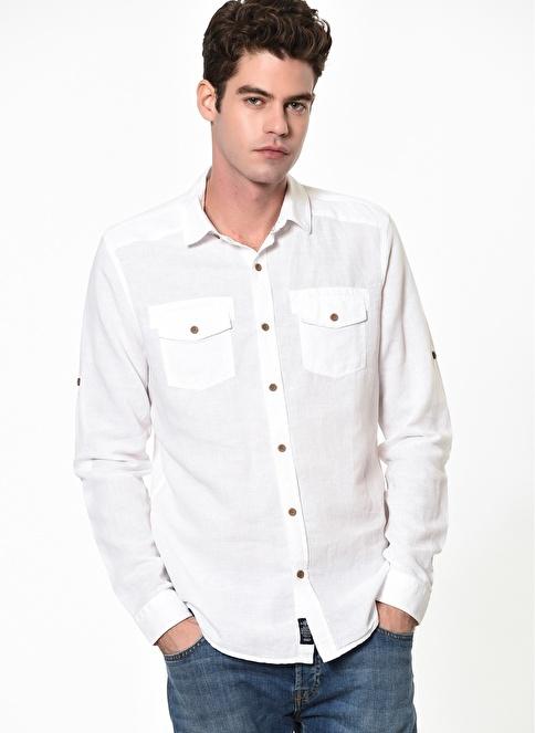 Mavi Çift Cepli Gömlek Beyaz